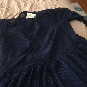 Maeve subtle polka dot dress w/ full slip-pleated